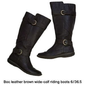Boc leather brown wide-calf riding boots 6/36.5